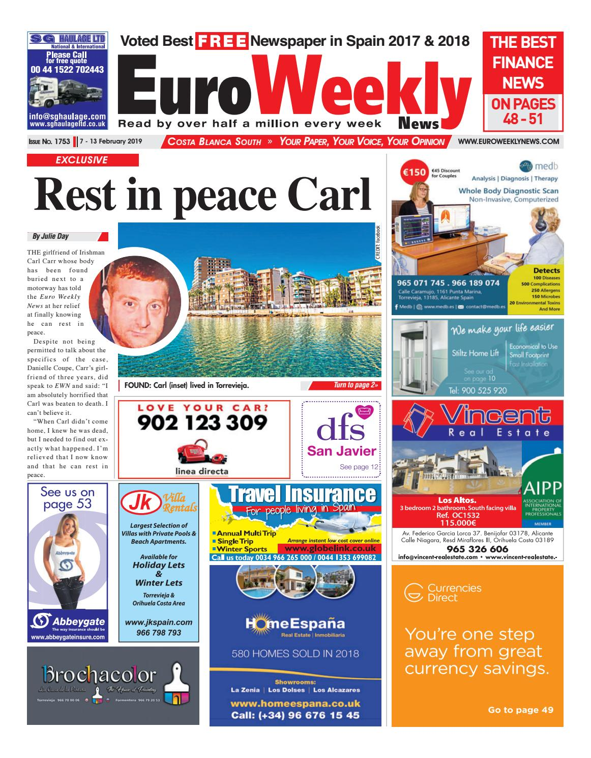02a197e07e2fc Euro Weekly News - Costa Blanca South 7 - 13 Feb 2019 Issue 1753 by Euro  Weekly News Media S.A. - issuu