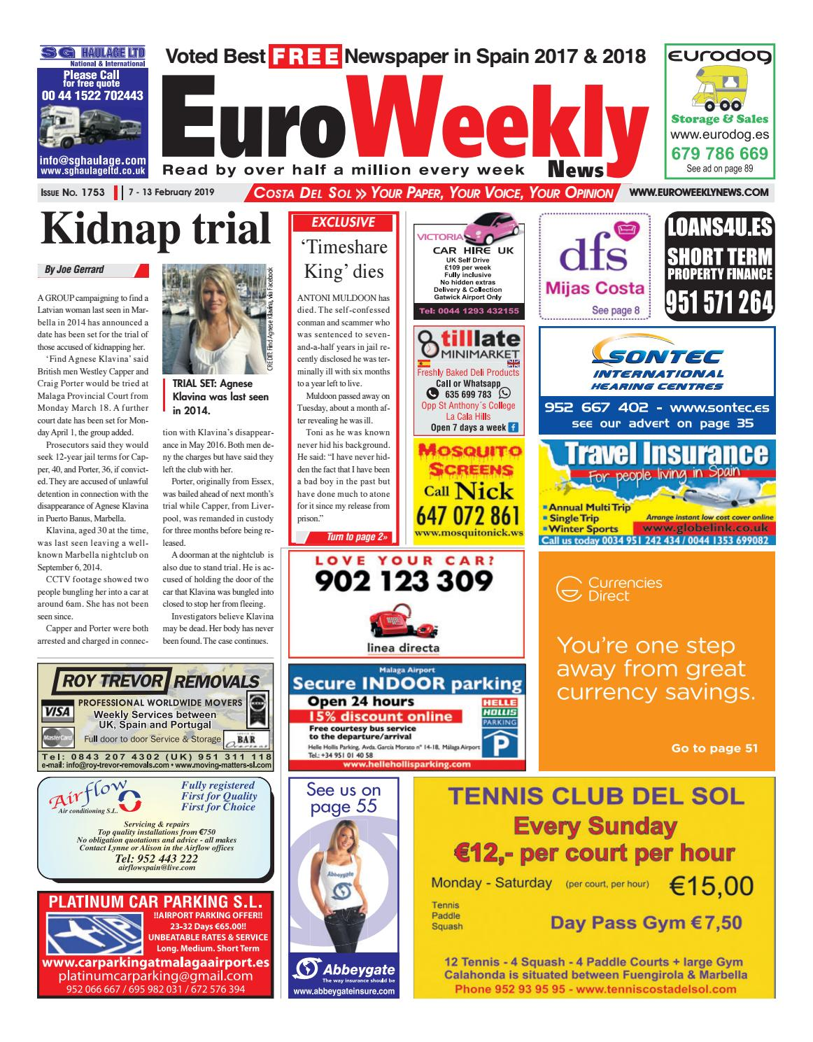 huge selection of f4538 90d8b Euro Weekly News - Costa del Sol 7 - 13 Feb 2019 Issue 1753 by Euro Weekly  News Media S.A. - issuu