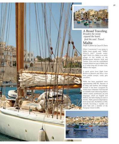 """Page 49 of """"A Broad Traveling"""" Broaden the mind,  expand the heart,  feed the soul. Travel.  MALTA"""