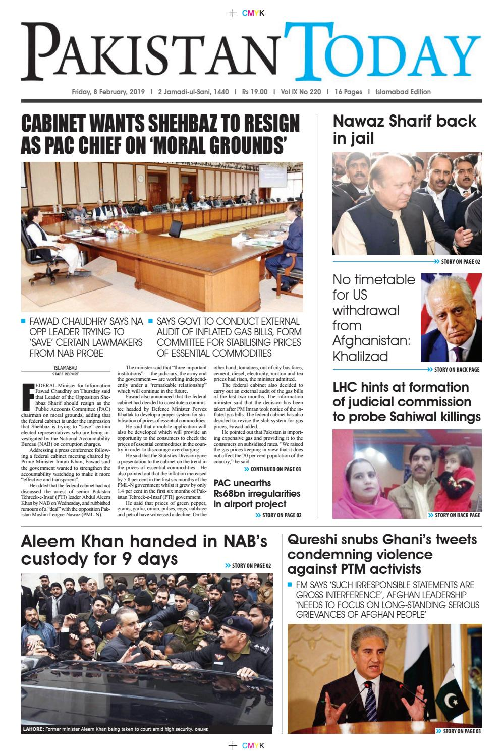 E Paper Pdf 8th February 2019 Isb By Pakistan Today Issuu