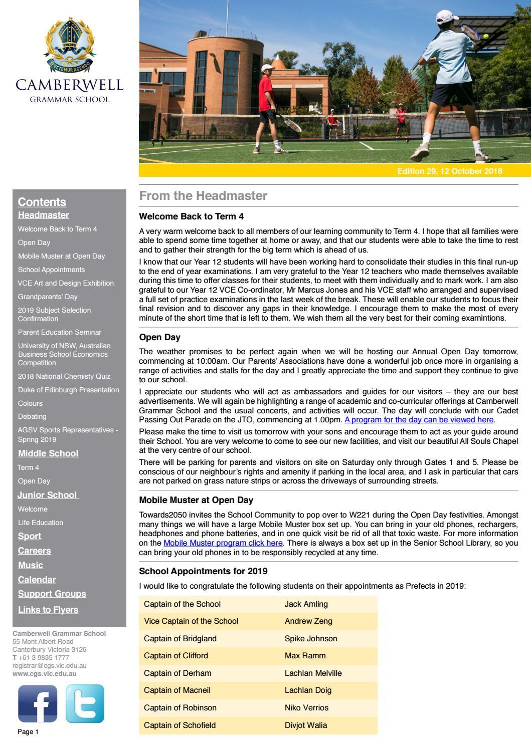 Weekly Bulletin 29 by Camberwell Grammar School - issuu