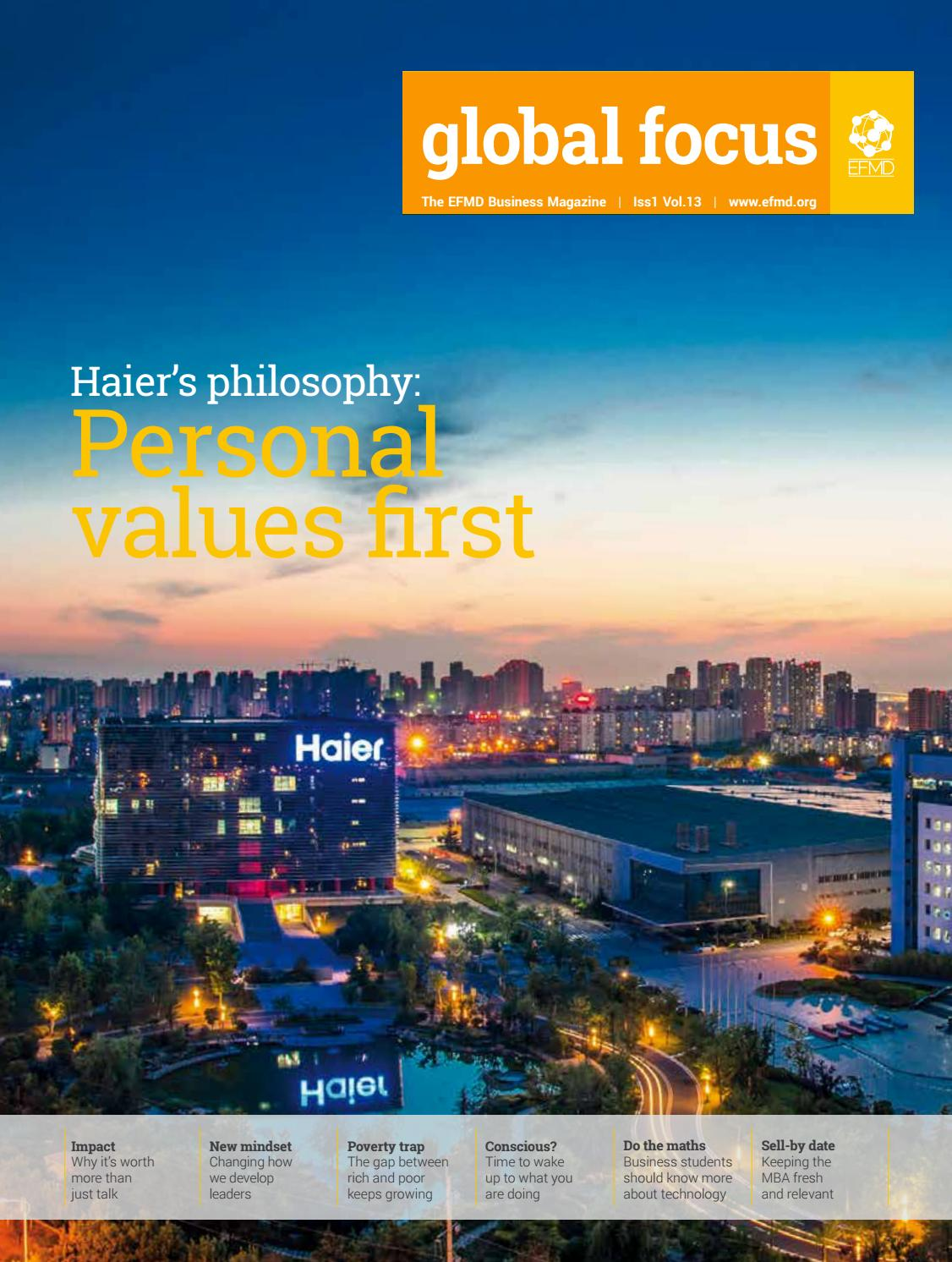 Global Focus, Vol 13 Issue 1 - Haier's philosophy: Personal values