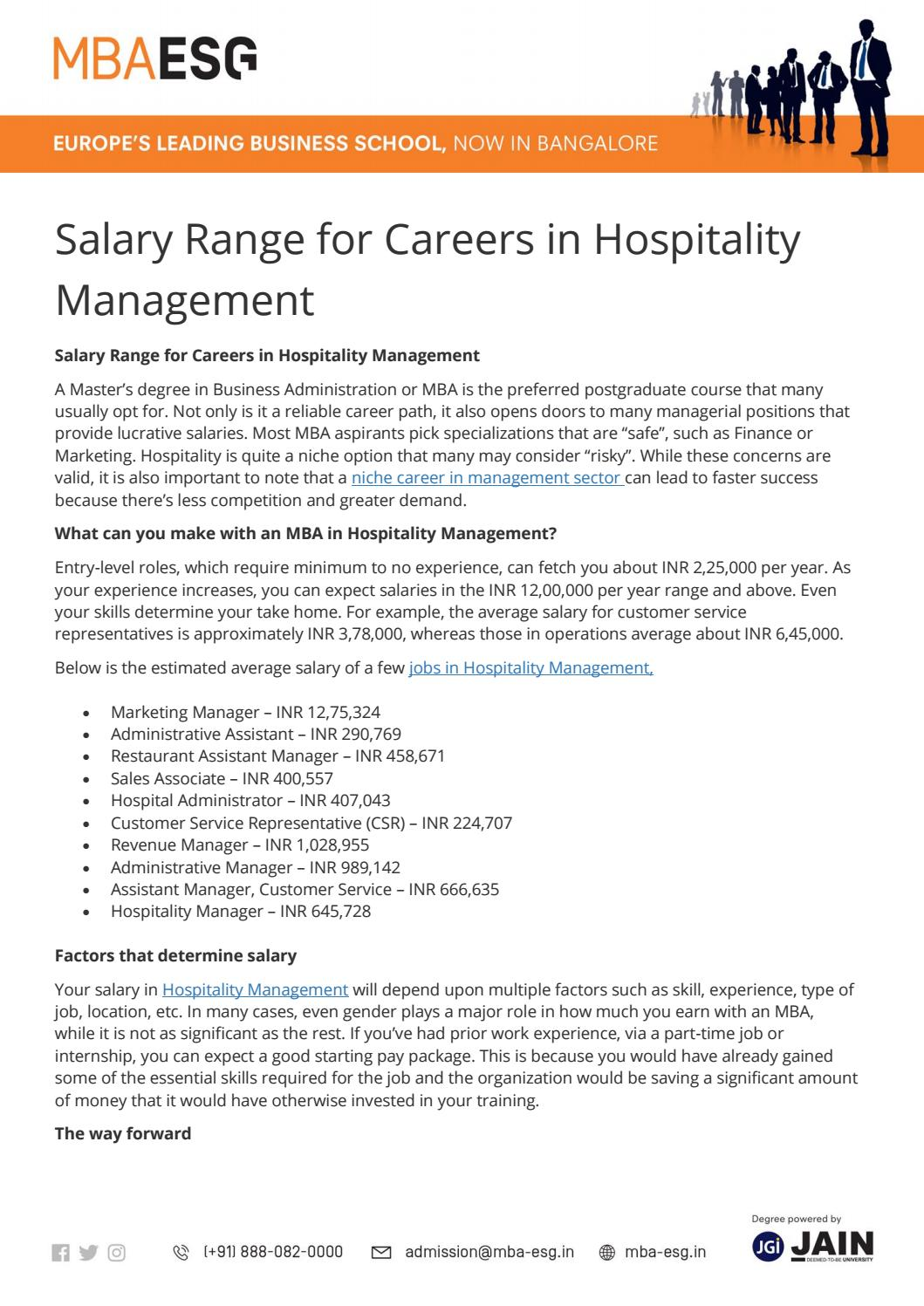 Salary Range for Careers in Hospitality Management by MBA