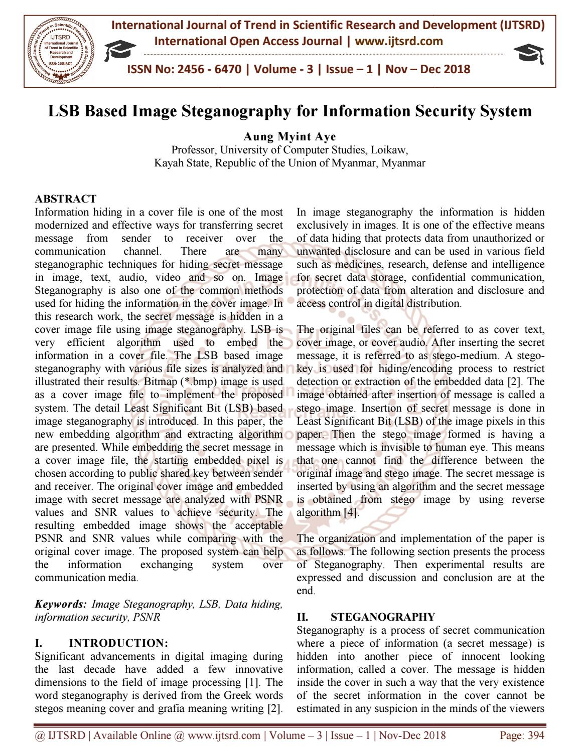 LSB Based Image Steganography for Information Security System by