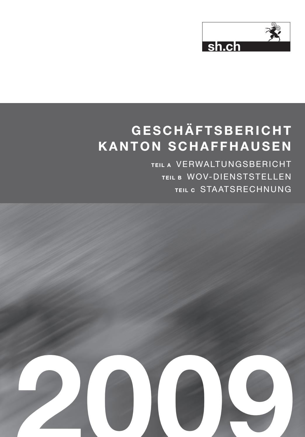 Geschäftsbericht 2009 Kanton Schaffhausen By Ksd Sh Issuu
