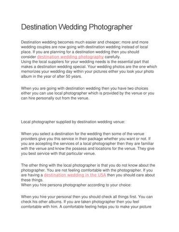 Destination Wedding Photographer by elianawilliam9 - issuu