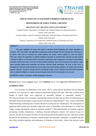 APPLICATION OF AUTONOMOUS ROBOTS FOR HEALTH MONITORING OF STRUCTURES