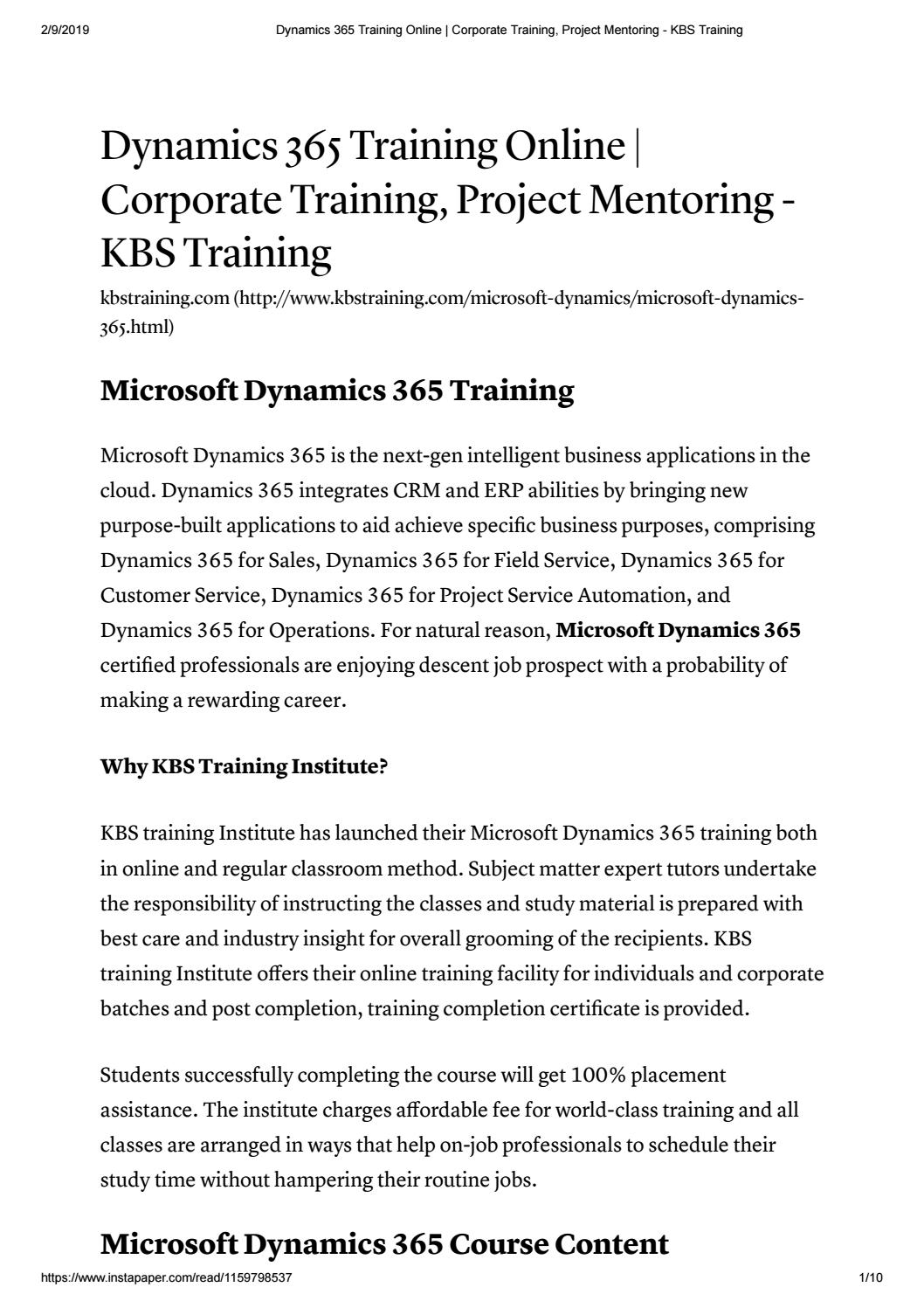 Dynamics 365 | Microsoft Dynamics 365 Training Online With