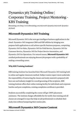 Dynamics 365 | Microsoft Dynamics 365 Training Online With