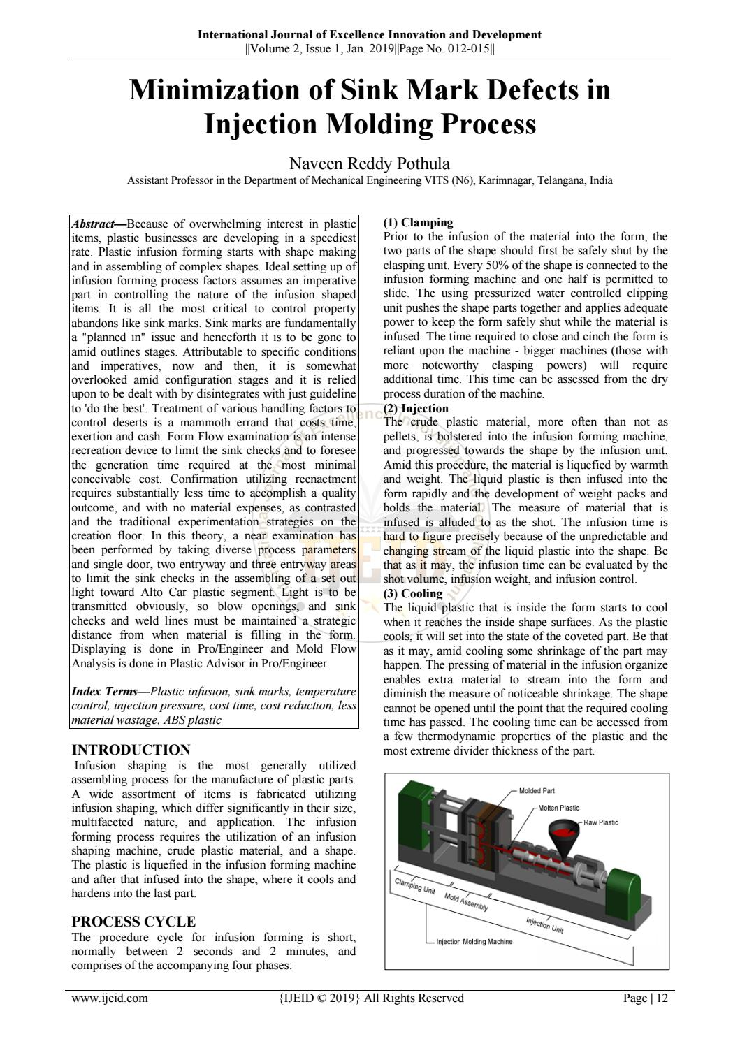 Minimization of Sink Mark Defects in Injection Molding
