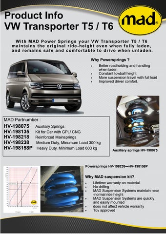 VW Transporter T6 Van Suspension Kits - Heavy duty springs, Air