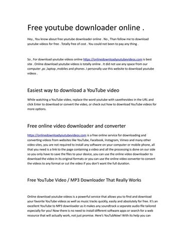 free youtube downloader mp3 online
