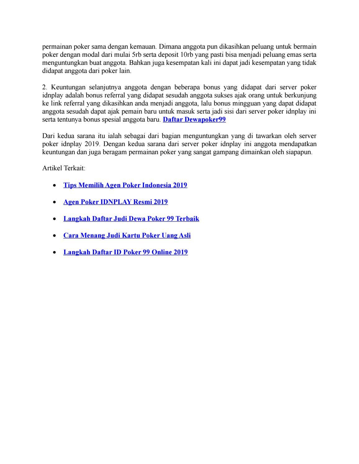 Keuntungan Server Poker Idnplay 2019 Dewapoker99 By Poker Idnplay Issuu