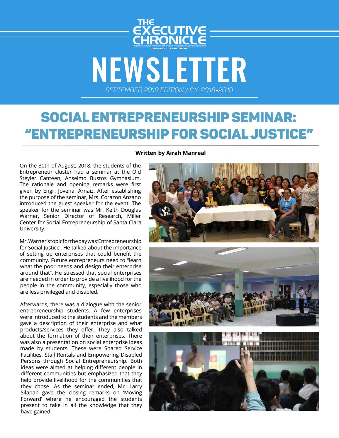 The Executive Chronicle - September 2018 Newsletter by The