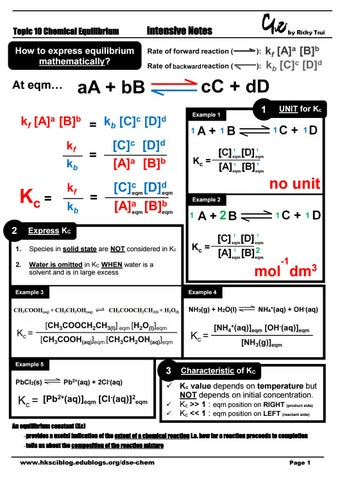 Topic 10 Chemical equilibria (intensive notes) by Ricky Tsui