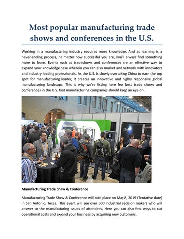 Most popular manufacturing trade shows and conferences in