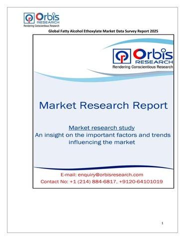 Global Fatty Alcohol Ethoxylate Market Intelligence Report