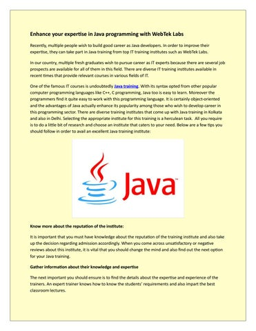 Enhance your expertise in Java programming with WebTek Labs