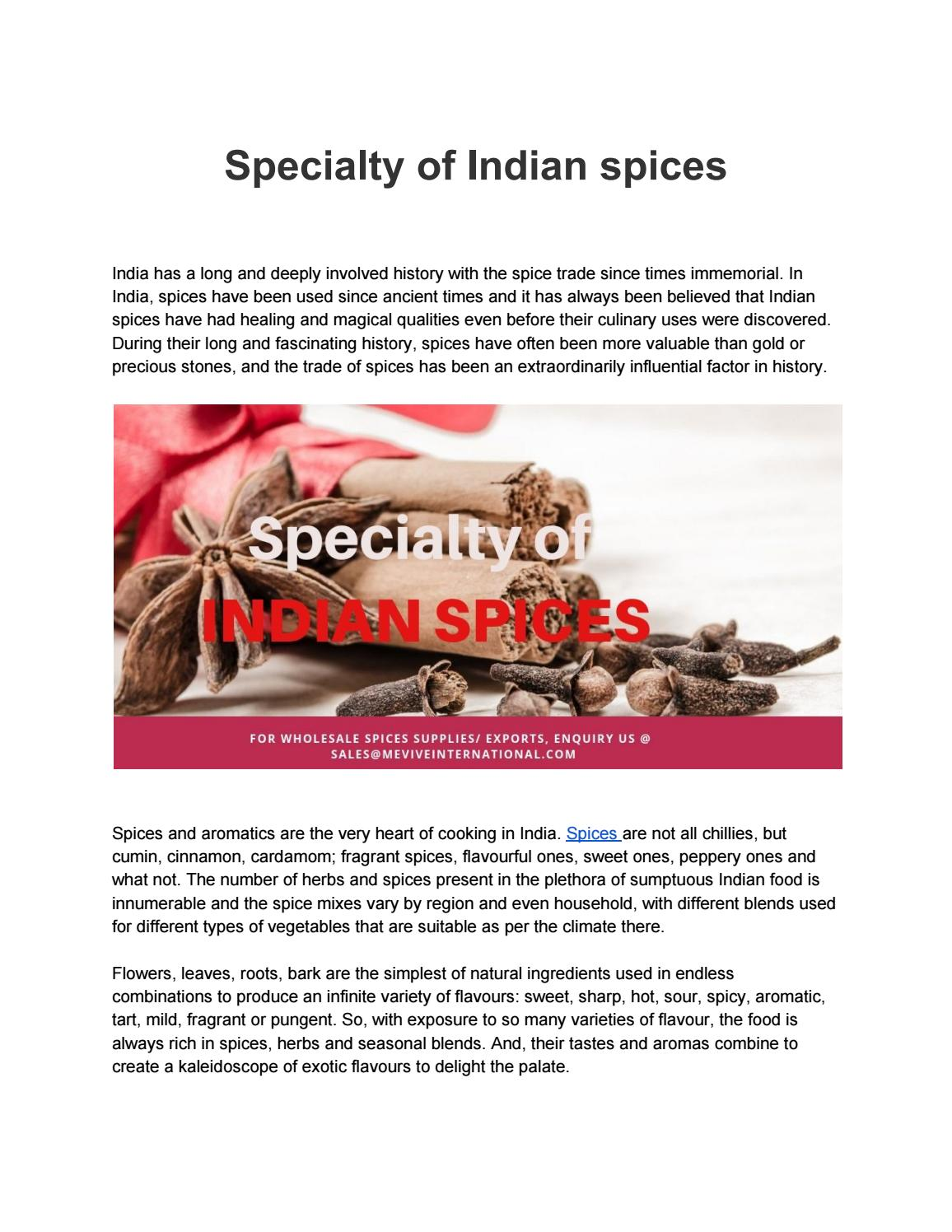Specialty of Indian spices by Mevive international- food ingredients