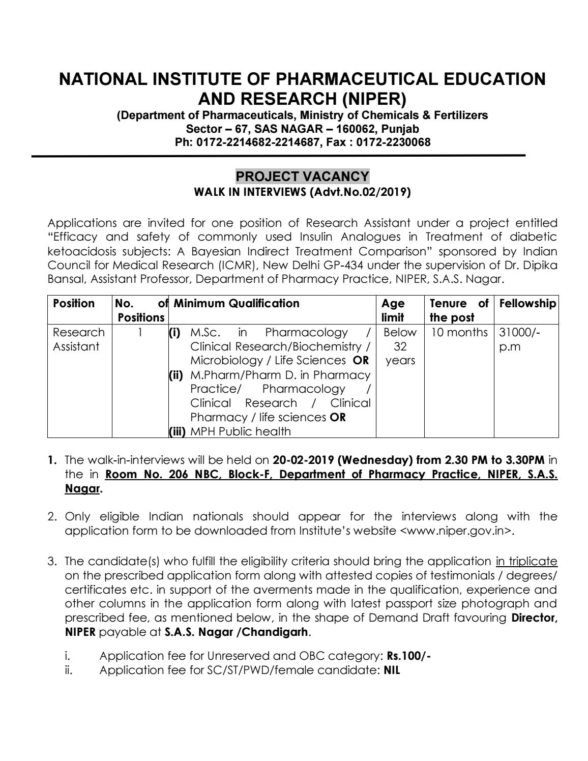 Pharma Jobs @ NIPER | Research Assistant Post Available by