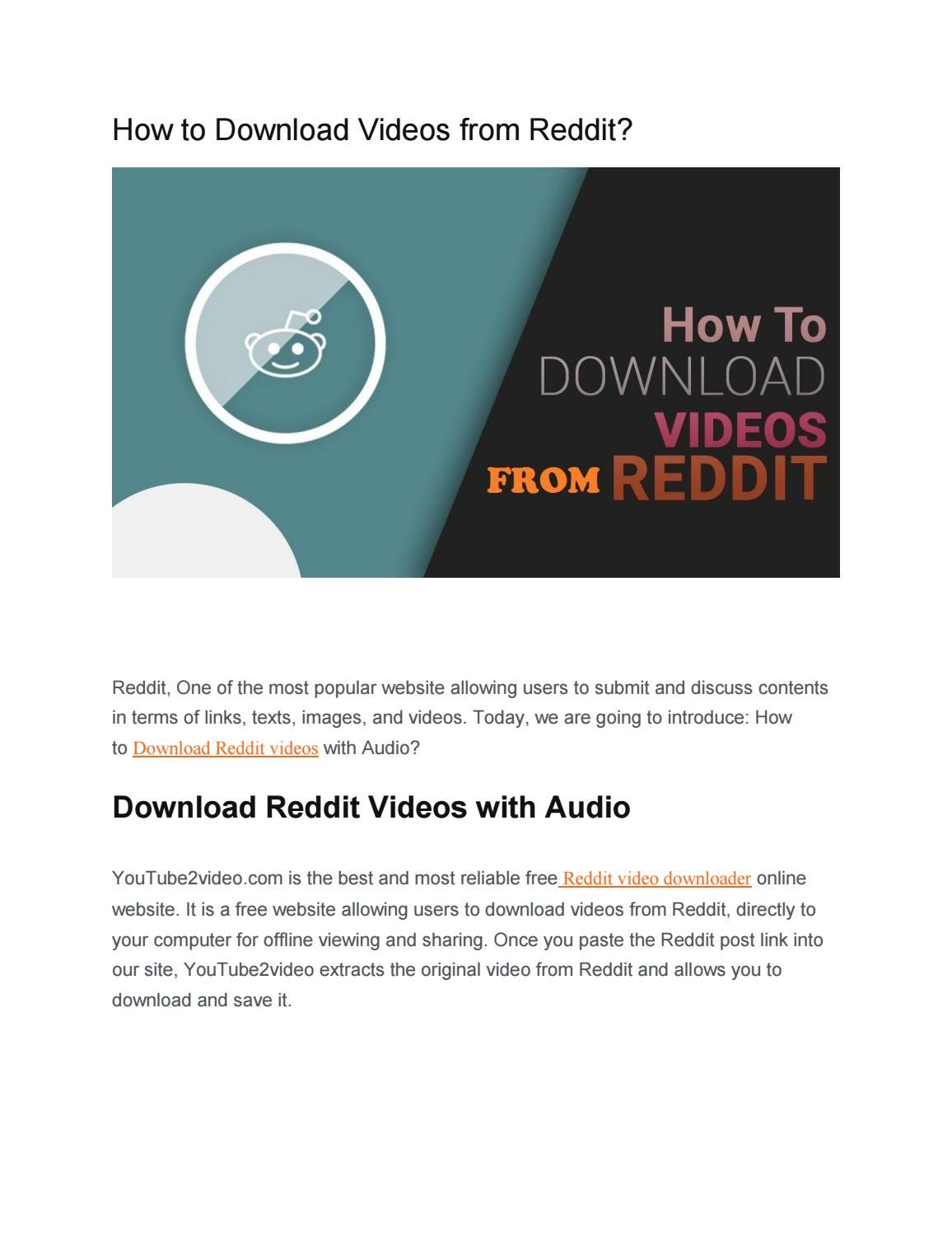 How to Download Videos from Reddit? by YouTube2video - issuu