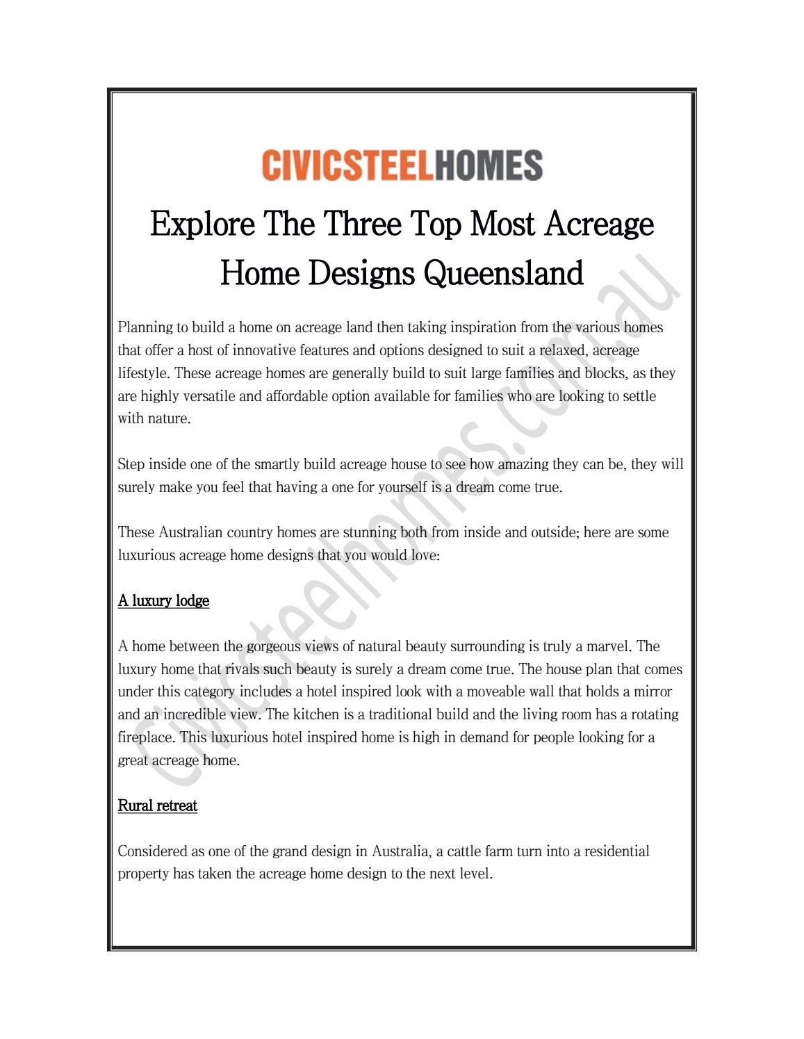 Explore The Three Top Most Acreage Home Designs Queensland By Civic Steel Homes Issuu
