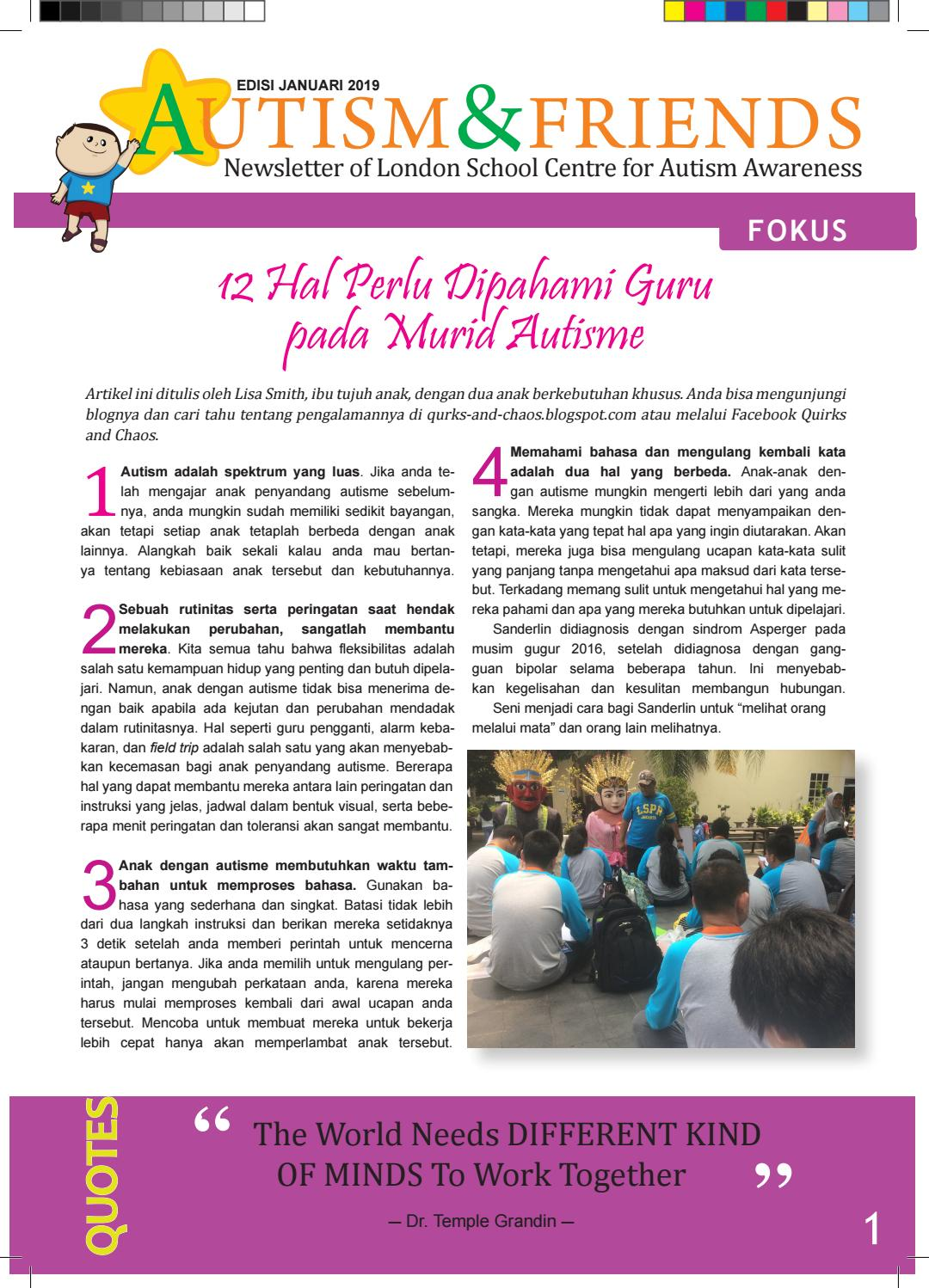 News Letter Autism January 2019 Edition By LSPR Jakarta Issuu