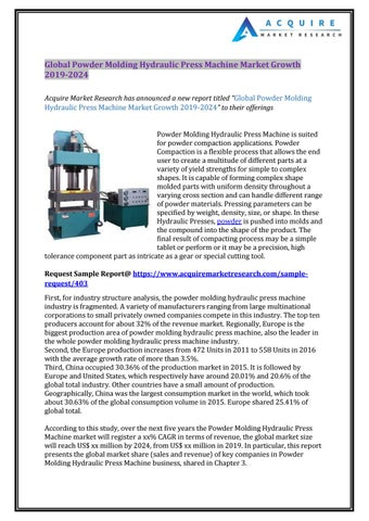 Global Powder Molding Hydraulic Press Machine Market Growth