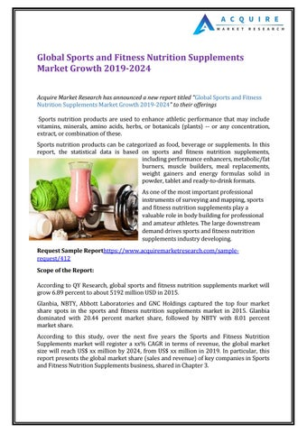 Global Sports And Fitness Nutrition Supplements Market Growth 2019 2024 By Acquire Market Research Issuu