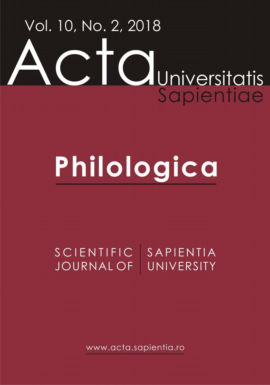 Philologica Vol 10 No 2 2018 By Acta Universitatis Sapientiae