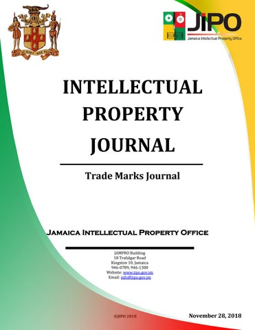 November 2018 TM Journal by Jamaica Intellectual Property Office - issuu