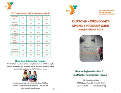 Spring 1 2019 Program Booklet by Old Town-Orono YMCA - issuu