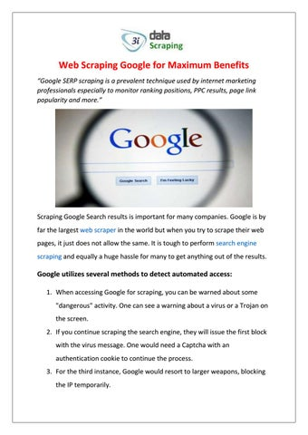 Web Scraping Google for Maximum Benefits by 3i Data Scraping