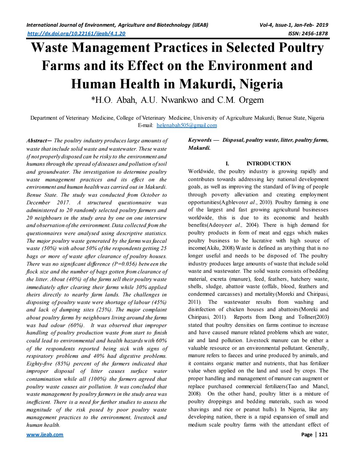 Waste Management Practices in Selected Poultry Farms and its