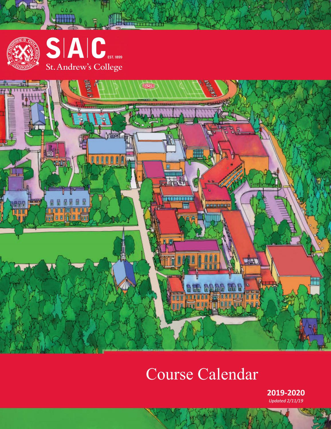 2019-2020 Course Calendar by St  Andrew's College - issuu