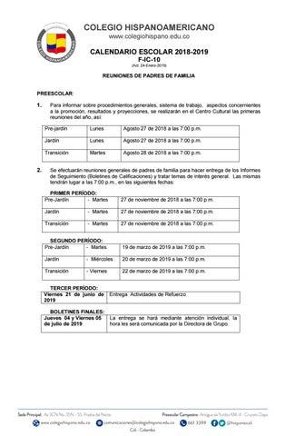 Page 2 of Calendario Escolar 2018-2019