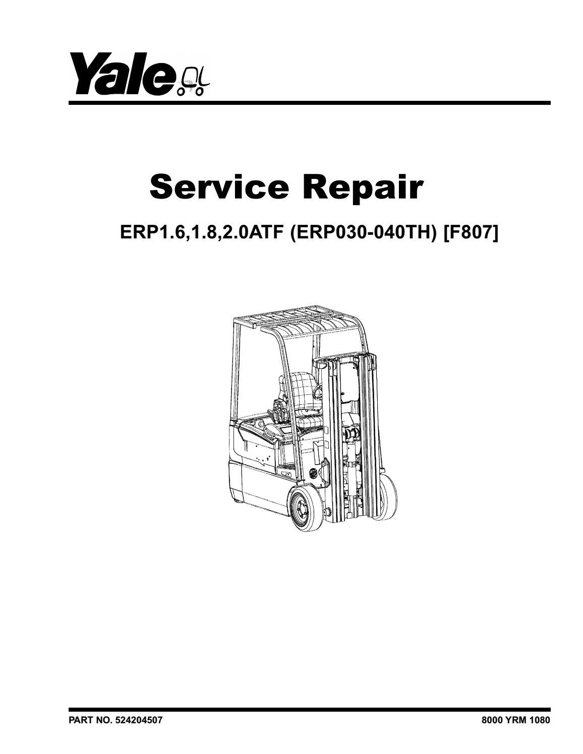 YALE (F807) ERP1 6ATF Europe LIFT TRUCK Service Repair