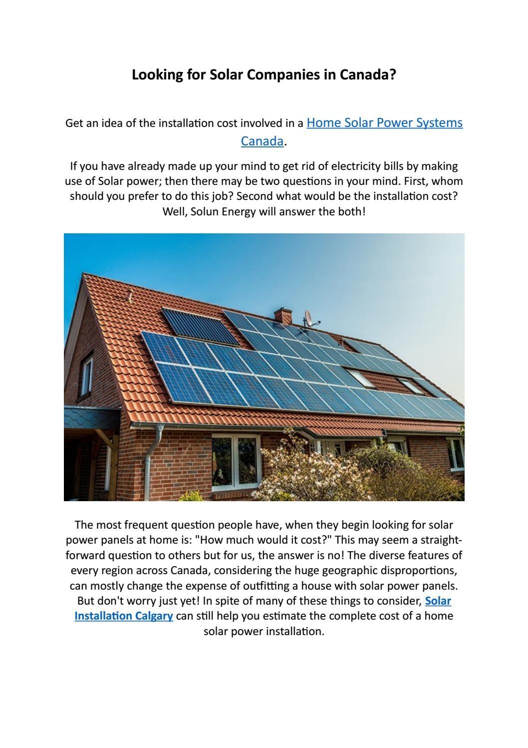 Pv Solar Panels Calgary By Solun Energy Issuu
