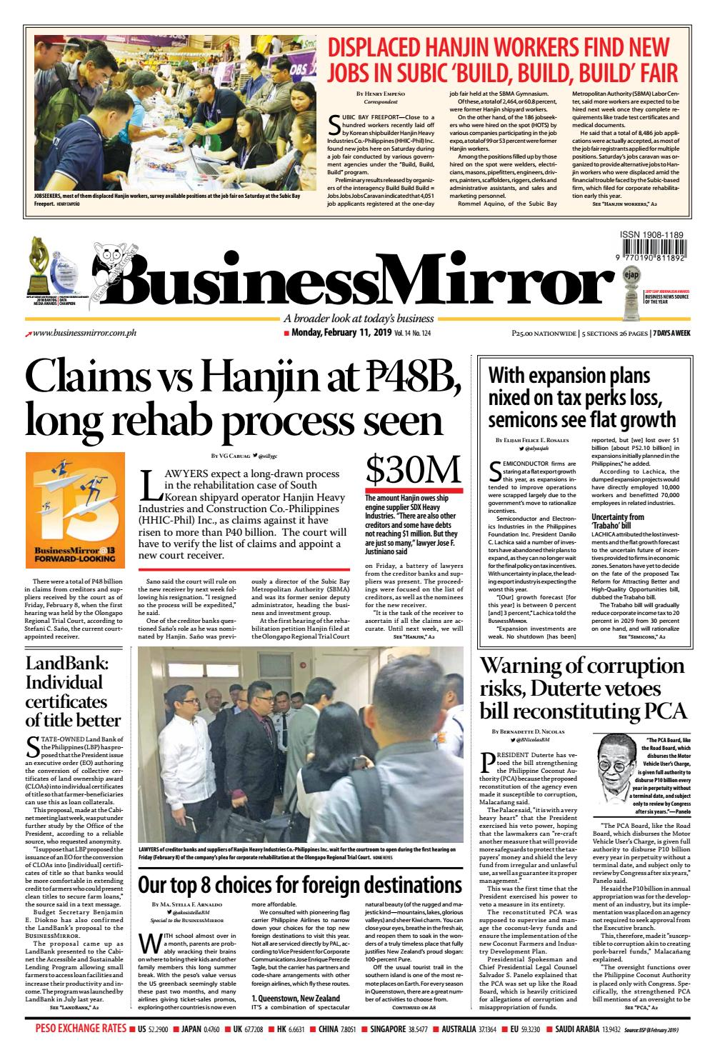BusinessMirror February 11, 2019 by BusinessMirror - issuu