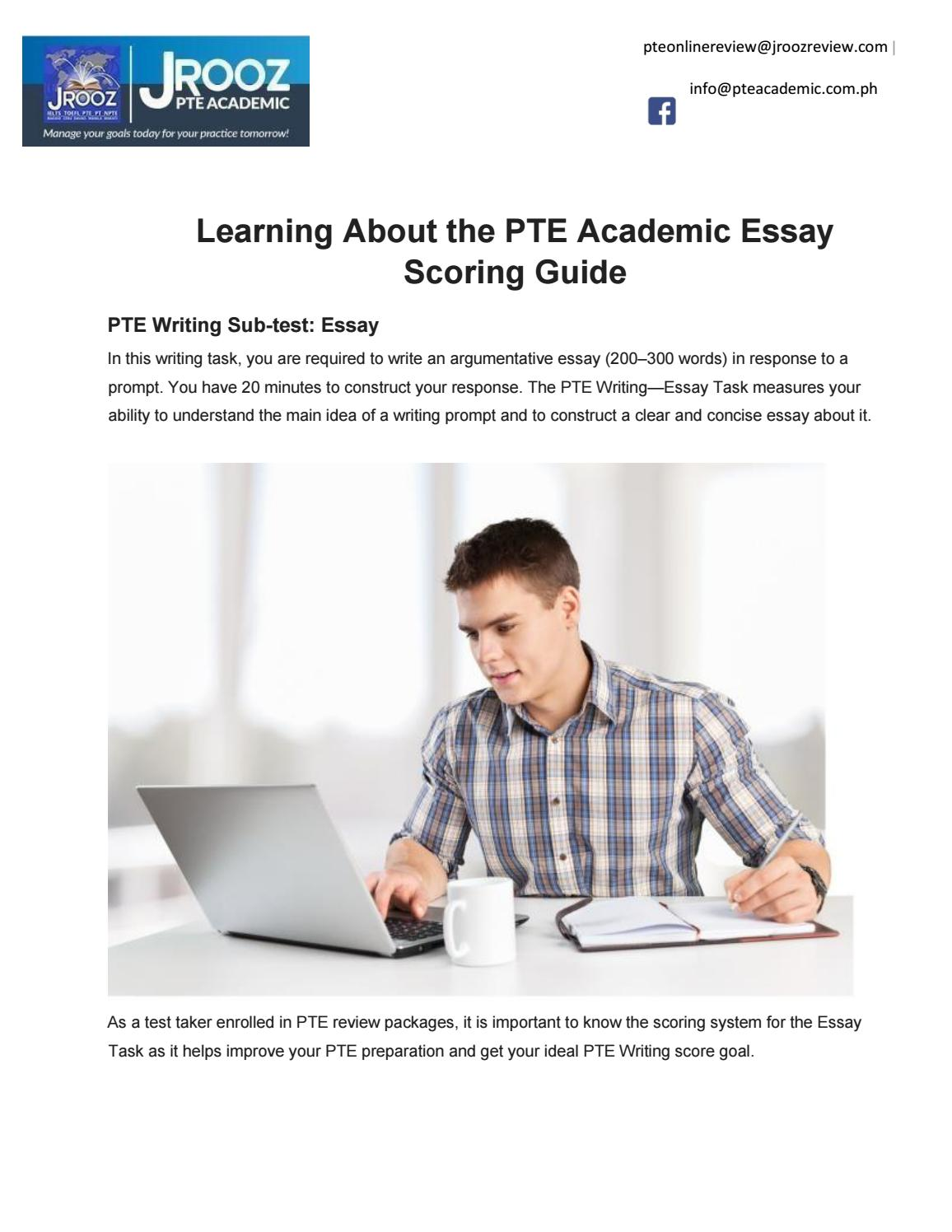 Learning About the PTE Academic Essay Scoring Guide by