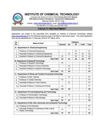 Chemistry Jobs at ICT, Mumbai   Assistant Professor Post