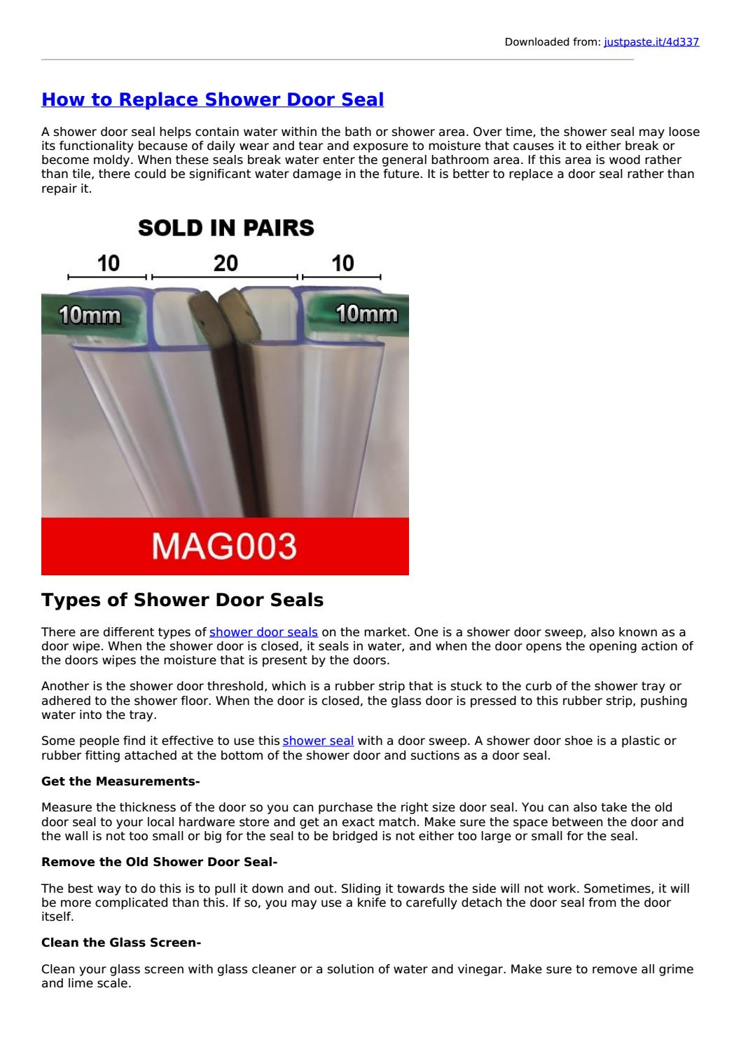 How To Replace Shower Door Seal By Showersealuk Issuu