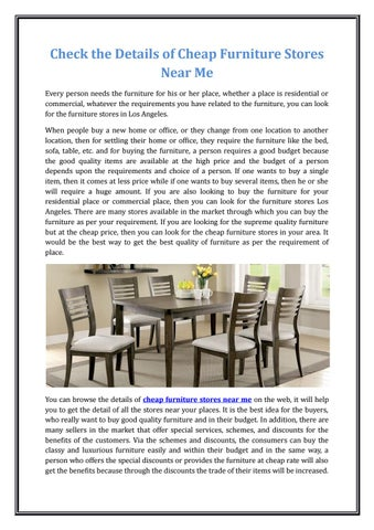 Check The Details Of Cheap Furniture Stores Near Me By Chirag Patel