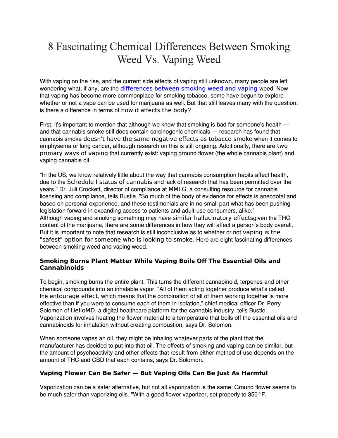 8 Fascinating Chemical Differences Between Smoking Weed Vs  Vaping Weed