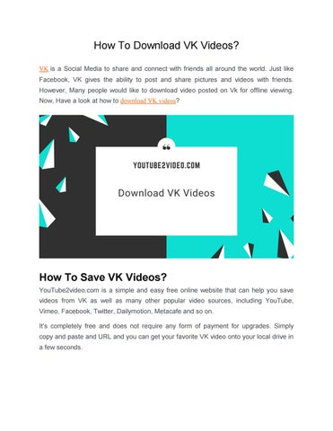 How To Download VK Videos? by YouTube2video - issuu