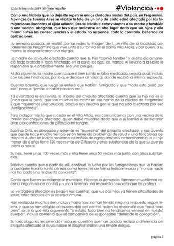 """Page 7 of PERGAMINO:  """"SI ESTARÍA TODO BIEN NO TENDRÍAMOS VENENO EN NUESTRO CUERPO"""""""
