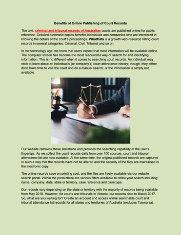 Benefits of Online Publishing of Court Records by whatdata - issuu