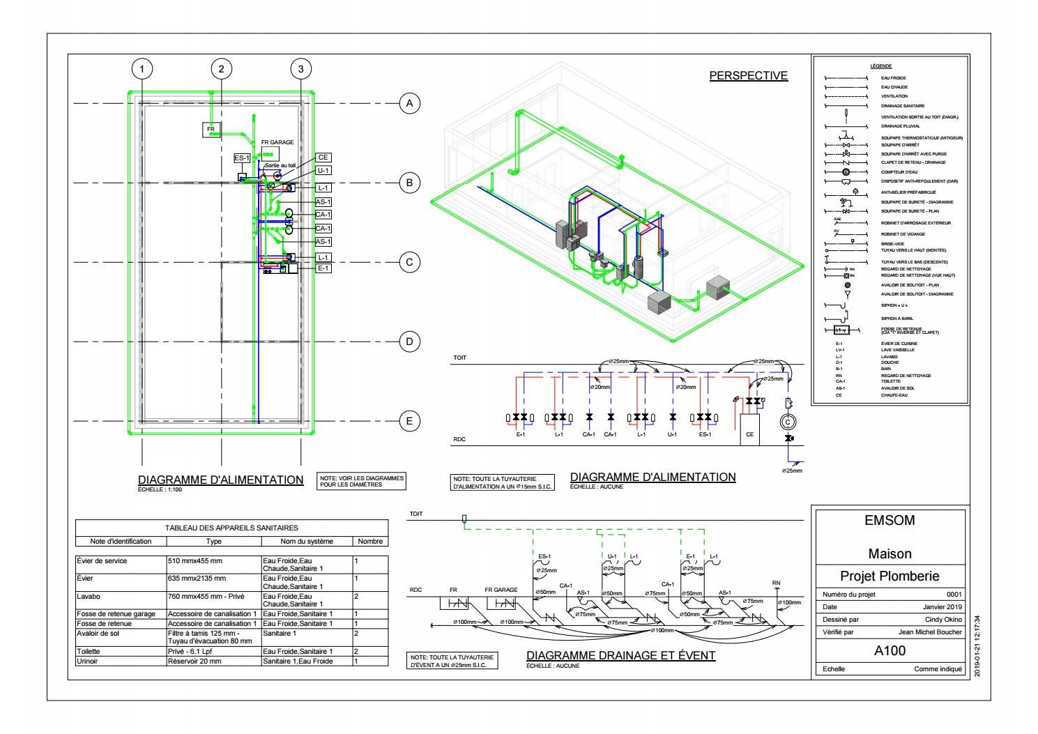 Plomberie Salle De Bain Sous Sol commercial and residential plumbing - autocad and revit