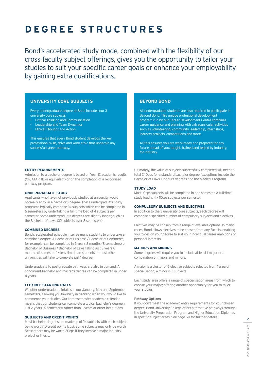 Bond University Domestic Undergraduate Guide 2020 by Bond