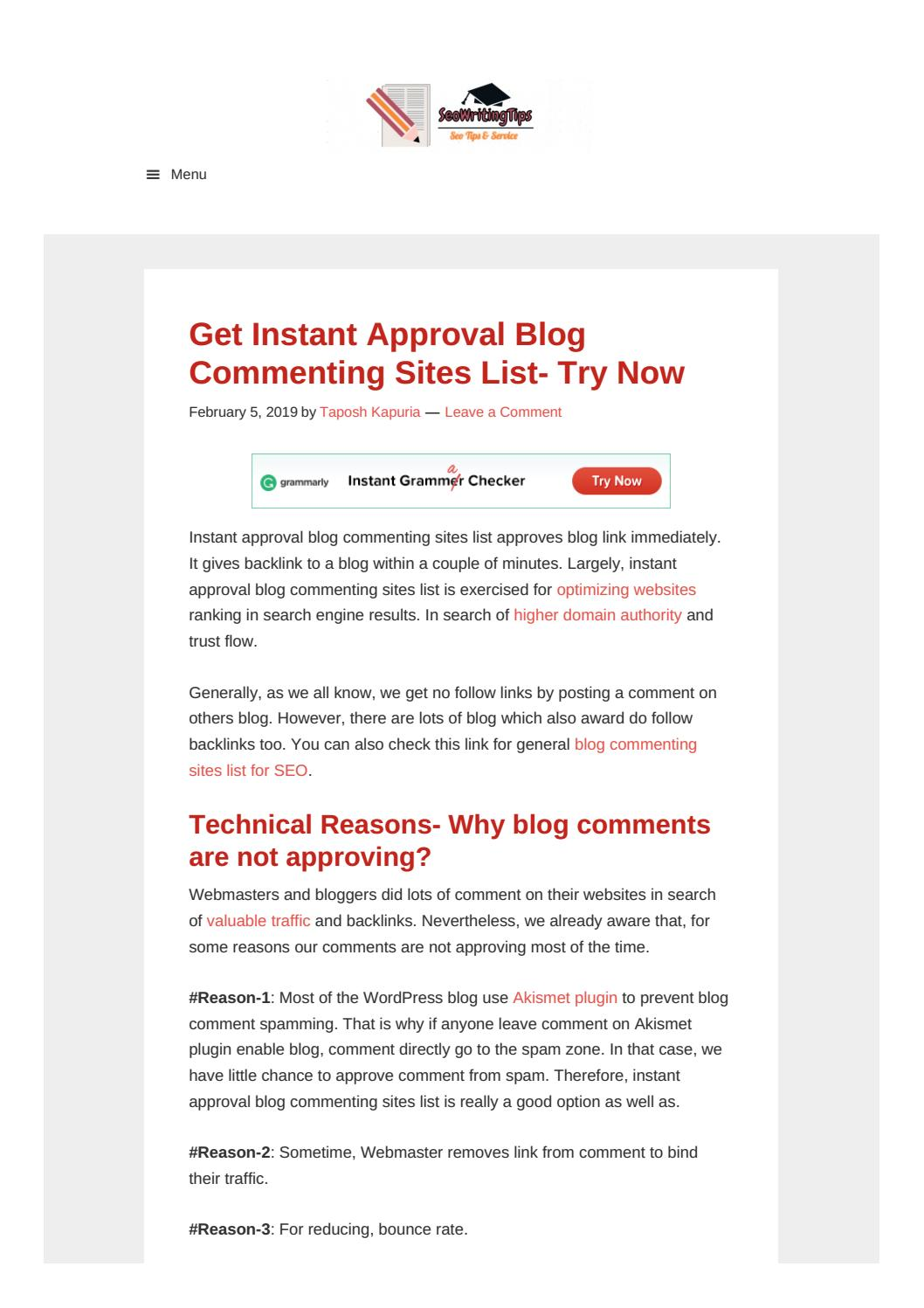 Instant Approval Blog Commenting Sites List by